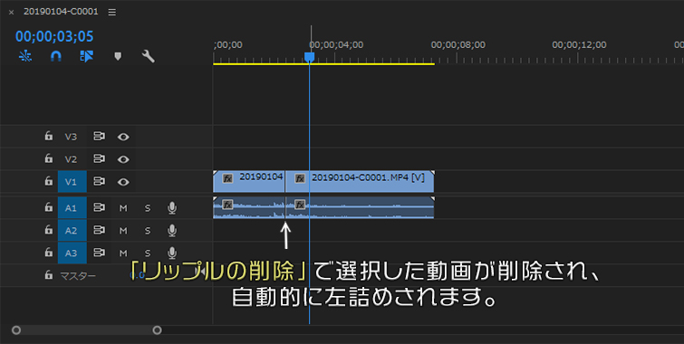 リップルの削除で選択した動画が削除され、自動的に左詰めされます
