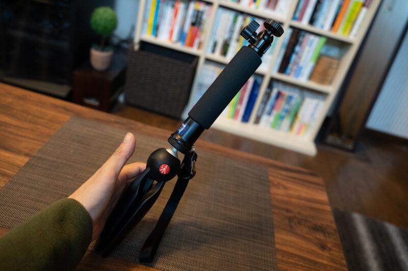 PIXIに自撮り棒を装着して高さをアップ