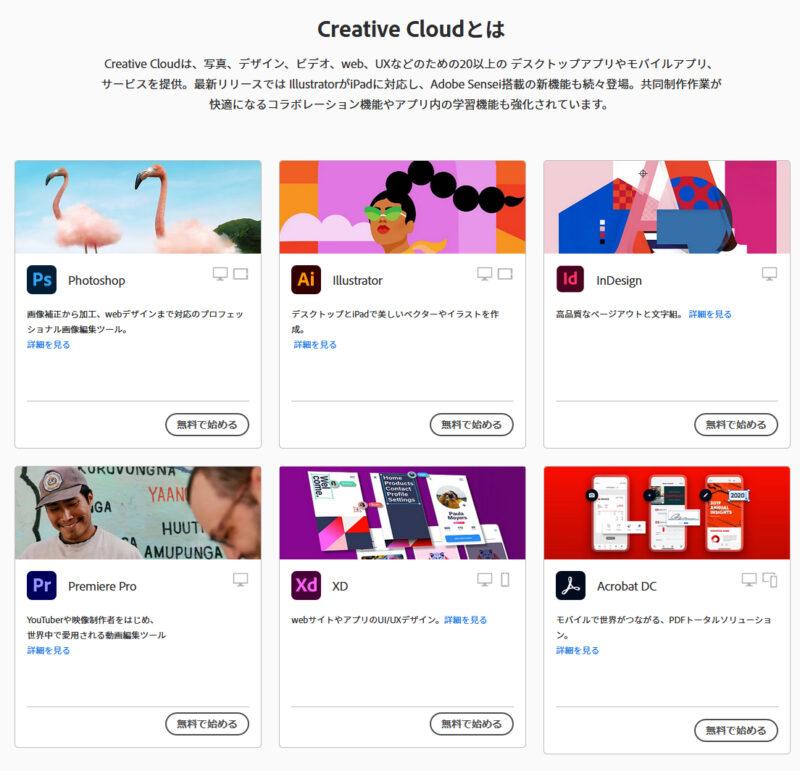 Adobe Creative Cloudで使えるソフト